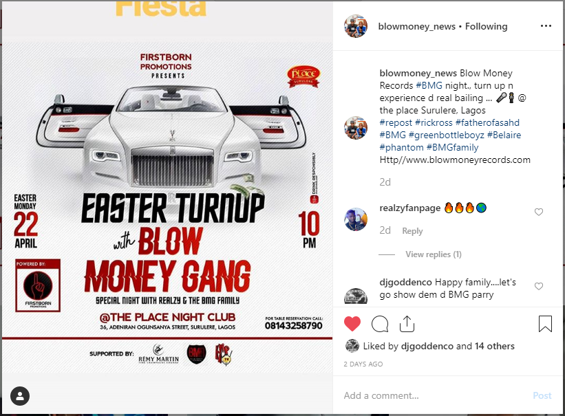 Easter turnup with Blow Money Gang