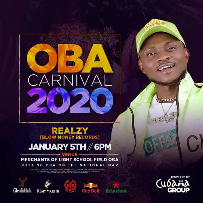 Realzy Performs at Oba Carnival 2020